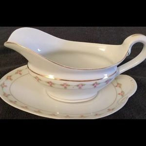 BASSETT LIMOGES Gravy Boat and Plate Floral Ivory